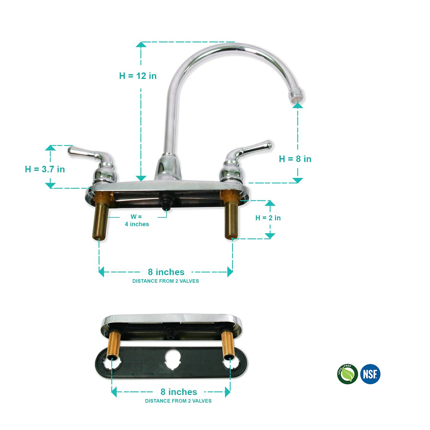 Everflow Kitchen Faucet without Spray, High Arc Swivel Spout Two Easy To Operate Metal Handles 17187, Chrome Finish Lead-Free Construction 2.2 GPM Flow Rate by Everflow Supplies (Image #4)