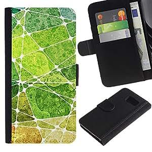 Be Good Phone Accessory // Caso del tirón Billetera de Cuero Titular de la tarjeta Carcasa Funda de Protección para Samsung Galaxy S6 SM-G920 // Leaf Green Nature Painting Abstract