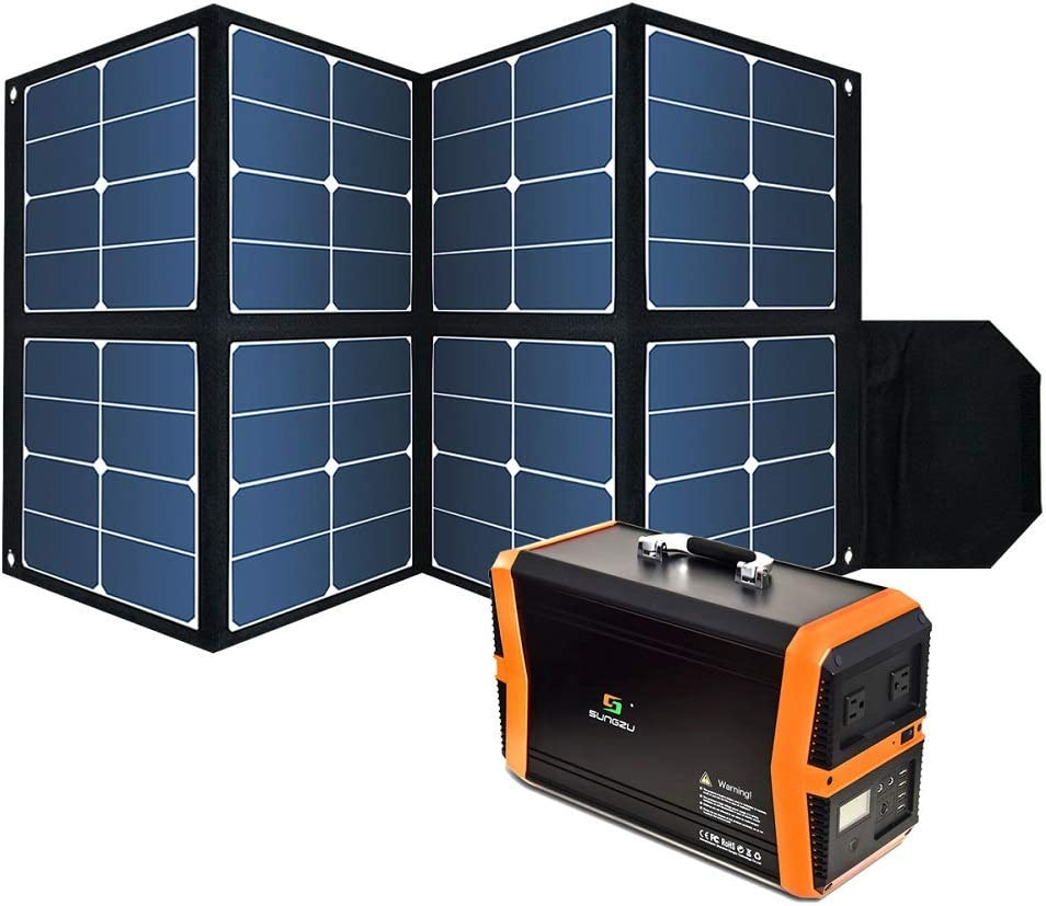 Foldable 100W Solar Panel, Waterproof Portable Power Solar Panel Charger with1 DC Outputs 32V 2.7A for the devices with input 32-42V and SUNGZU 1000W Portable Solar Generator only