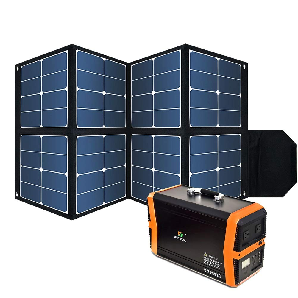 Foldable 100W Solar Panel, Waterproof Portable Power Solar Panel Charger with1 DC Outputs 32V/2.7A for the devices with input 32-42V and SUNGZU 1000W Portable Solar Generator only by Sungzu