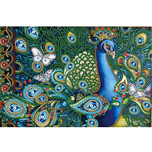 Sietore 5D DIY Special Shaped Diamond Painting Partial Dril Cross Stitch Kit Diamond Painting Kits for Adults Rhinestone Embroidery Diamond Art for Home Wall Decor,Peacock Design (Multicolor) (Peacock Embroidery Designs)