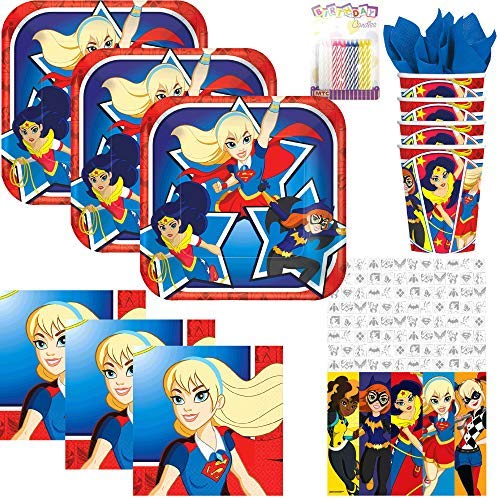 Lobyn Value Pack DC Superhero Girls Party Supplies Pack Serves 16: Dessert Plates, Beverage Napkins, Cups, Table Cover, and Birthday Candles