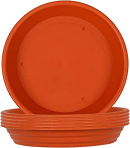 XOV Plant Saucer 10 Inch Trays Flower Pot Heavy Duty Plastic Drip Tray for Indoor Outdoor Garden Planter Accessories (Brick red 10 inch)
