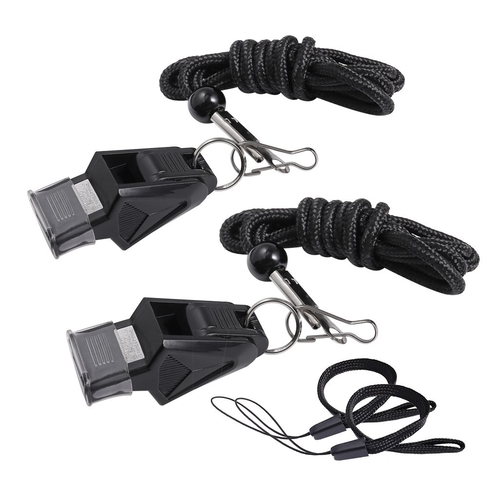 130db Premium Sports Whistles with Adjustable Lanyard & Cushioned Mouth Grip, Ideal for Teachers, Referee, Coaches, Instructors, Sports, Lifeguard, Safety, Survival, Emergency - Pack of 2 (black)
