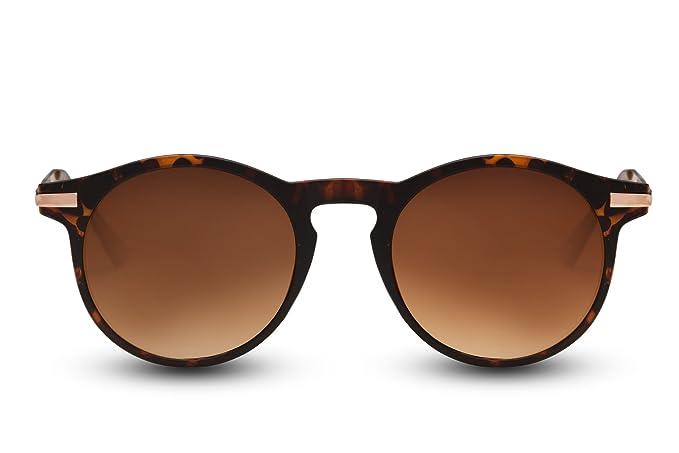 Cheapass Sonnenbrille Braun Runde Brille Schwarz Leo-Print UV-400 Retro Damen Herren Ia2jwrpSu