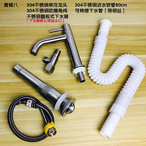 Gyps Faucet Washbasin Single-Lever Mixer Tap 304 Brushed Stainless Steel Cold Wash Basin Faucet Single Hole Pack 8