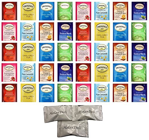 (40 count) Assorted Herbal and Black Tea, Variety Pack(8 Flavors). Includes Our Exclusive HolanDeli Chocolate (40 Assorted Teas)