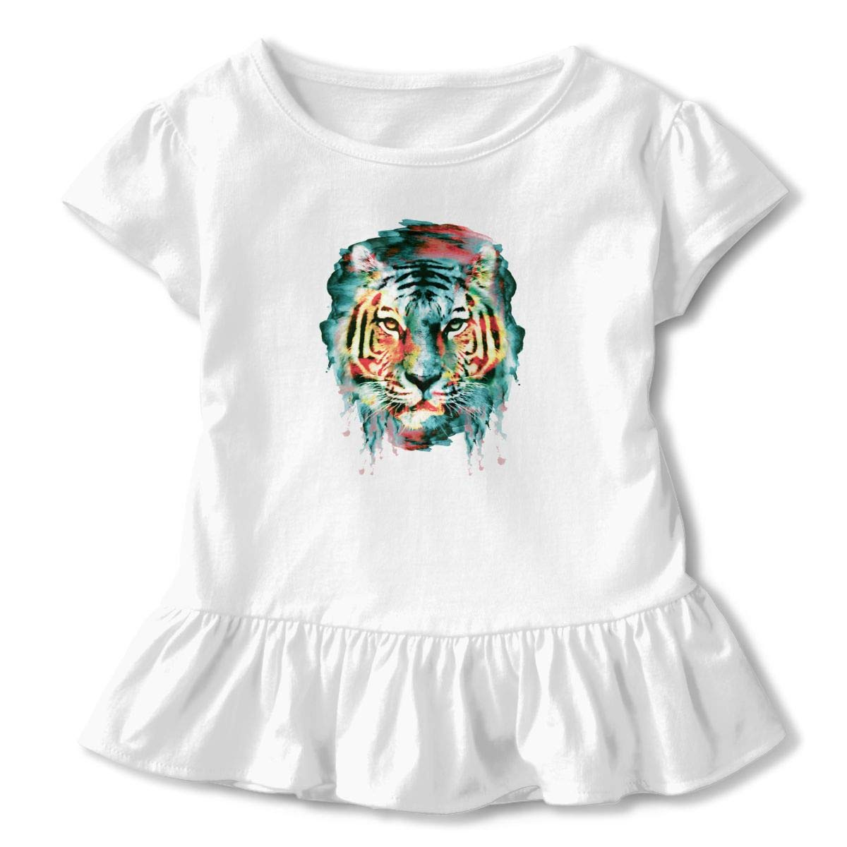 CZnuen Lion Owl Wolf Tiger Cat Watercolor Animal Baby Girls Round Neck Short Sleeve Ruffle T-Shirt Top