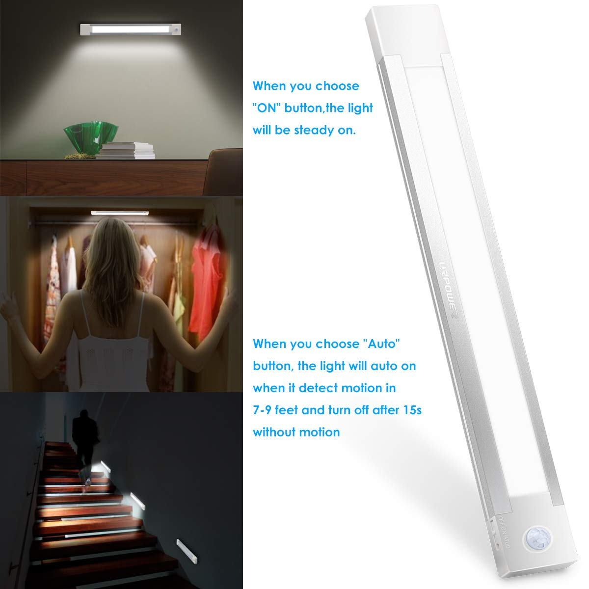 URPOWER Motion Sensor Light, Rechargeable Closet Light Wireless Motion Sensor LED Night Light Stick-Anywhere Motion Sensor Closet Lights Stick up Wall Lights for Closet Bathroom Hallway (Cool White) by URPOWER (Image #4)