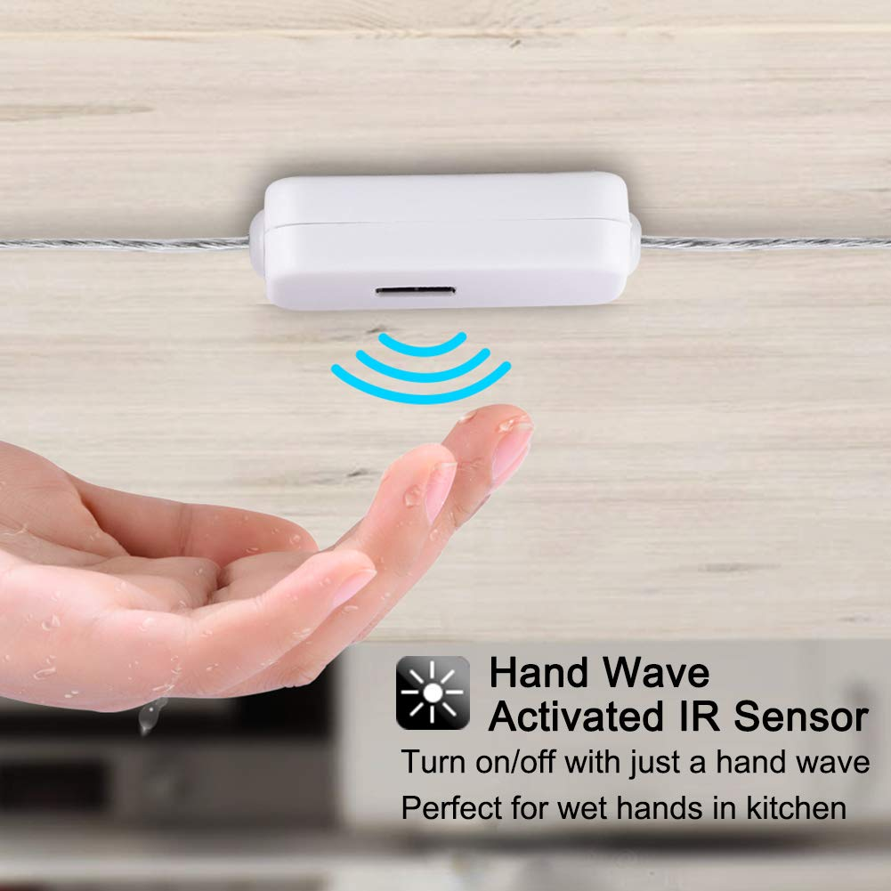 Hand Wave Activated Under Counter Strip YOUTHINK LS-01 LED Under Cabinet 3.28ft USB Powered IR Sensor Night Light for Kitchen Closet Touchless Dimming Control 6000K Natural White 5V