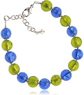 The Jewellery Factory Silver Plated Mint Murano Style Disc Bracelet of 23.5cm