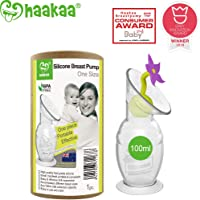 Haakaa Breast Pump Manual Breast Pump Milk Saver with Suction Base and Flower Stopper Combo 100% Food Grade Silicone BPA PVC and Phthalate Free (100ml) (Purple)