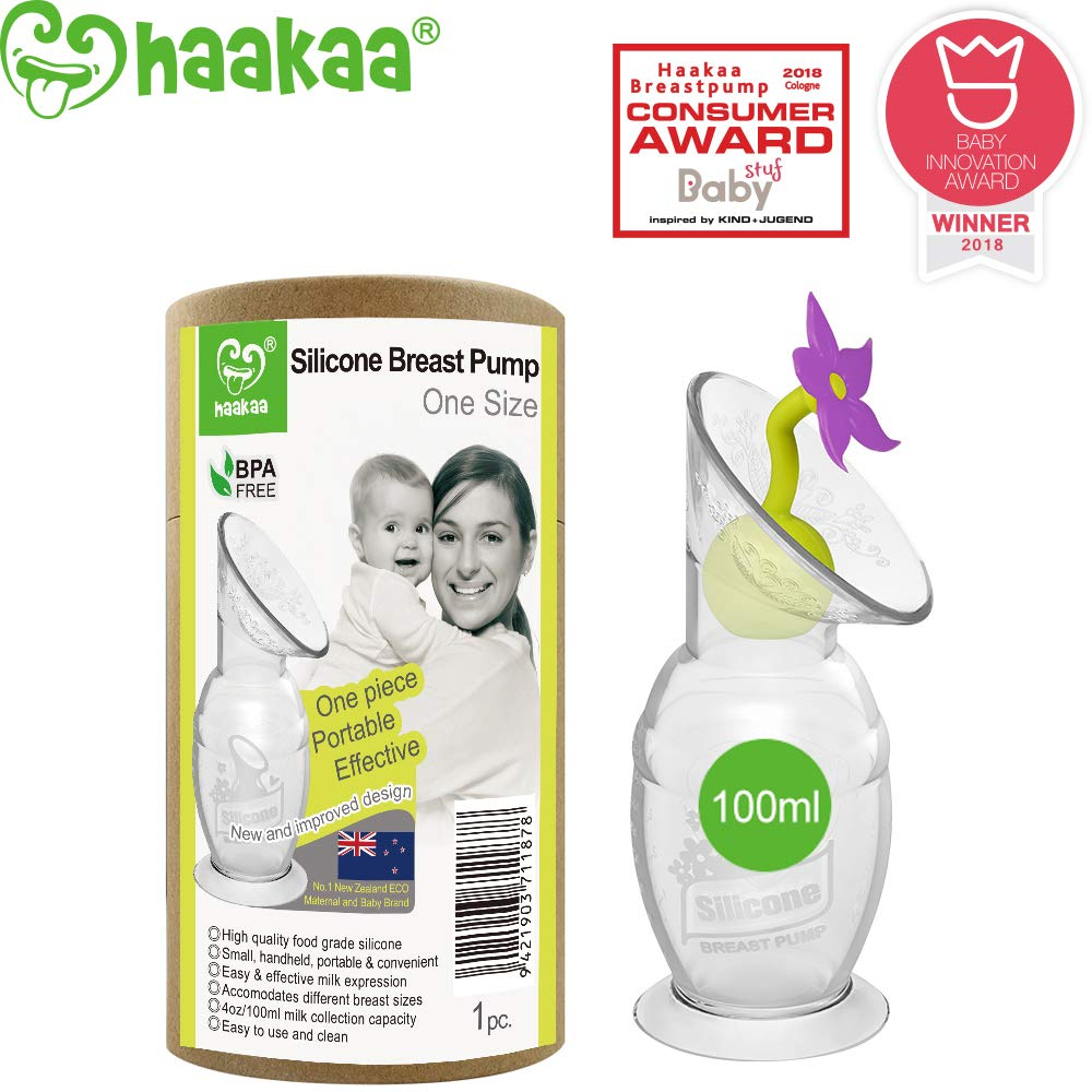 Haakaa Manual Breast Pump Silicone Breastpump Milk Pump for Breastfeeding with Suction Base and Flower Stopper 100% Food Grade Silicone BPA Free (4oz/100ml) (Purple) by haakaa