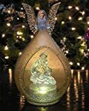 """LED Lighted Christmas Ornament Angel and Holy Family Nativity Color Changing Figurine Decoration Acrylic 7""""H"""
