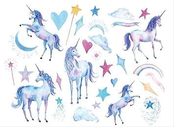 CCWL Unicornio Caballo Dibujos Animados Temporal Tatuaje Pegatina ...