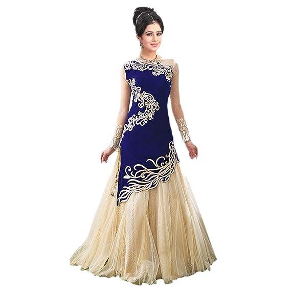 2e1fbf5824 Snapdeal Women s Zoya Blue Lehenga Choli Gown Blue Semi-stitched Dress  Matarial (ZOYA BLUE 1)  Amazon.in  Clothing   Accessories
