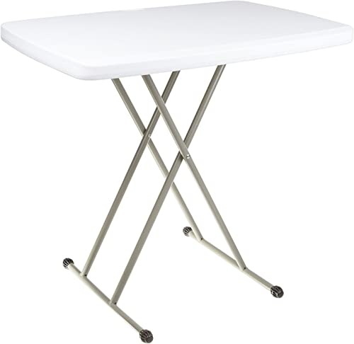 Ontario Furniture Adjustable Folding Table - 20 X 30 Inches - for Indoor and Outdoor Use, White Resin Tabletop with Sturdy Steel Frame - Lightweight, and Portable, Perfect as a Small Extra Table