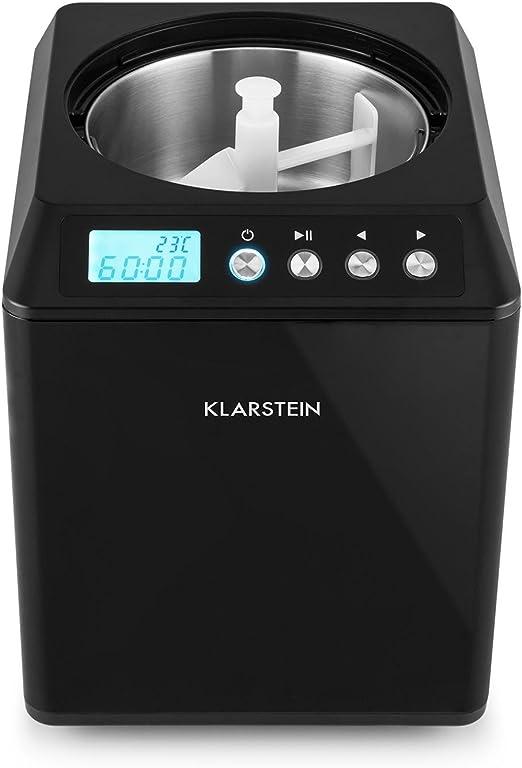 Klarstein /• Vanilly Sky Family /• Heladera /• Yogurtera /• M/áquina de helados /• Refrigeraci/ón retardada /• Pantalla LED /• 250 W /• 2,5 litros /• Vaso medidor de tama/ño de una copa /• Negra