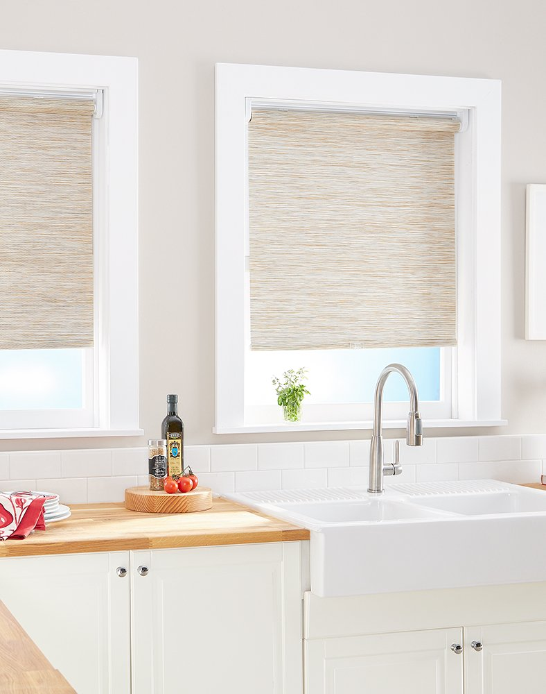 Grey 39  W x 64  L Curtainworks Kenza Window Shade, 23  W x 64  L, Natural