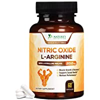 Extra Strength Nitric Oxide L Arginine Supplement 2010mg - Citrulline Malate, AAKG, Beta Alanine - Premium Muscle Building No Booster for Strength, Vascularity & Energy to Train Harder - 60 Capsules