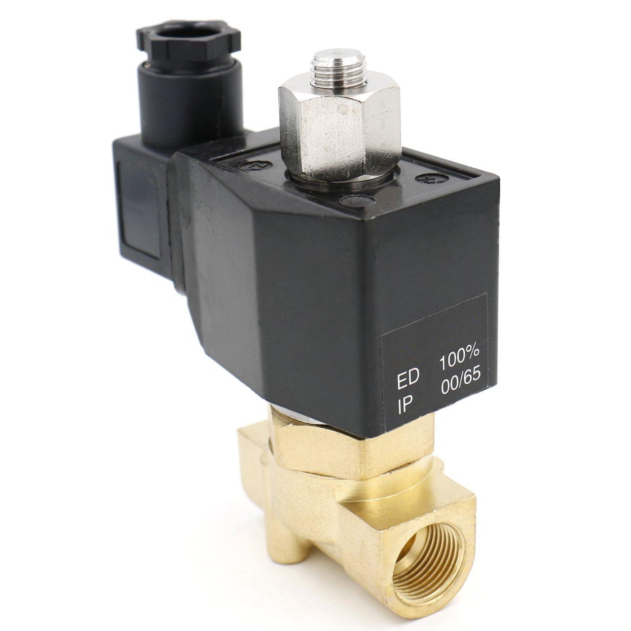 /10/pt 3//8/DC 24/V Acci/ón Directa Agua Aire Gas Normalmente Abierto heschen lat/ón el/éctrico v/álvula solenoide 2/wk040/