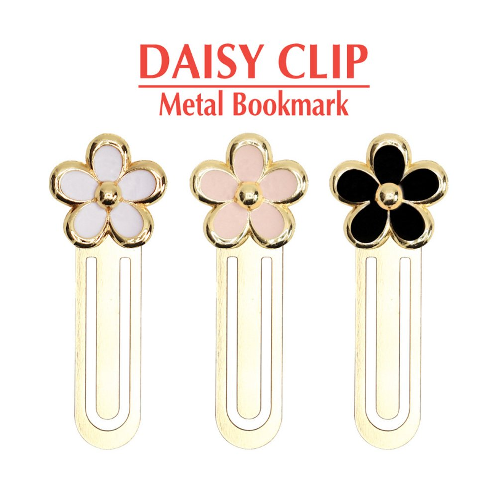 Aile Rabbit Set Of 3 Brass Daisy Clip Metal Bookmarks(Pink + White + Black)