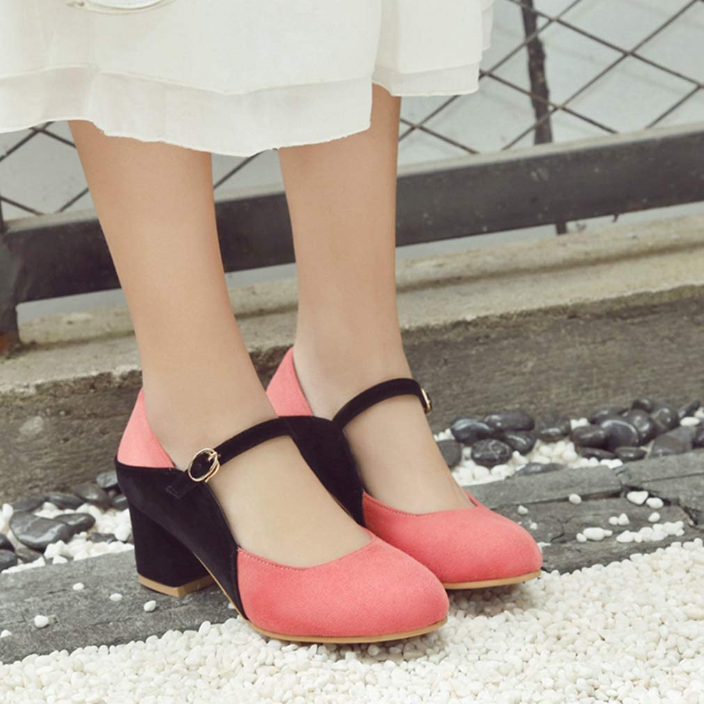 GIY Women's Retro Mary Jane Jane Jane Oxfords Shoes Suede Round Toe Buckle Strap Chunky Block High Heel Classic Pump B07H8G7WY1 9 B(M) US =25.5cm/10.04
