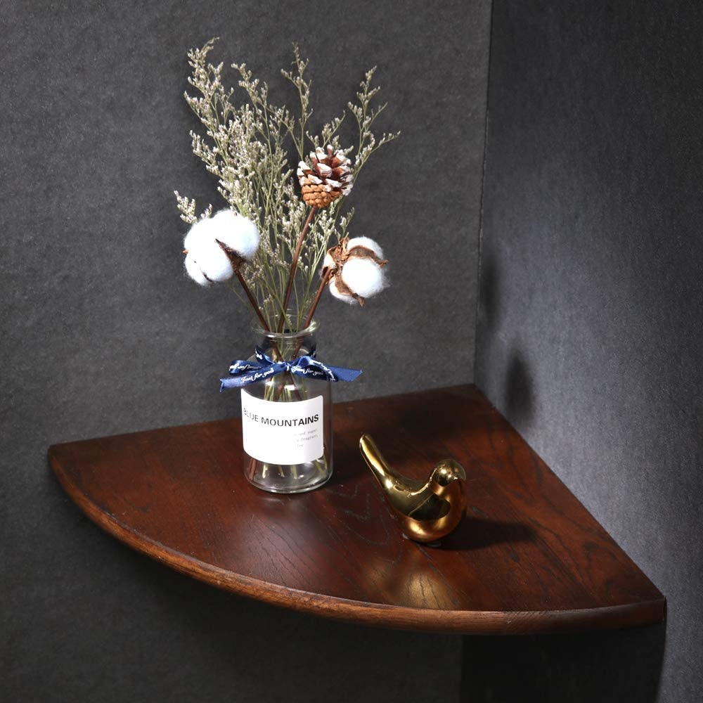 "IPETSON Wooden Corner Shelf Unit,1 Pcs Round End Oak Wood Hanging Wall Mounted Floating Shelves Storage Shelving Table Bookshelf Drawers Display Racks Bedroom Office Home Décor Accents (Walnut, 10"")"