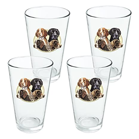 Hunting Breed Dogs Novelty 16oz Pint Drinking Glass Tempered