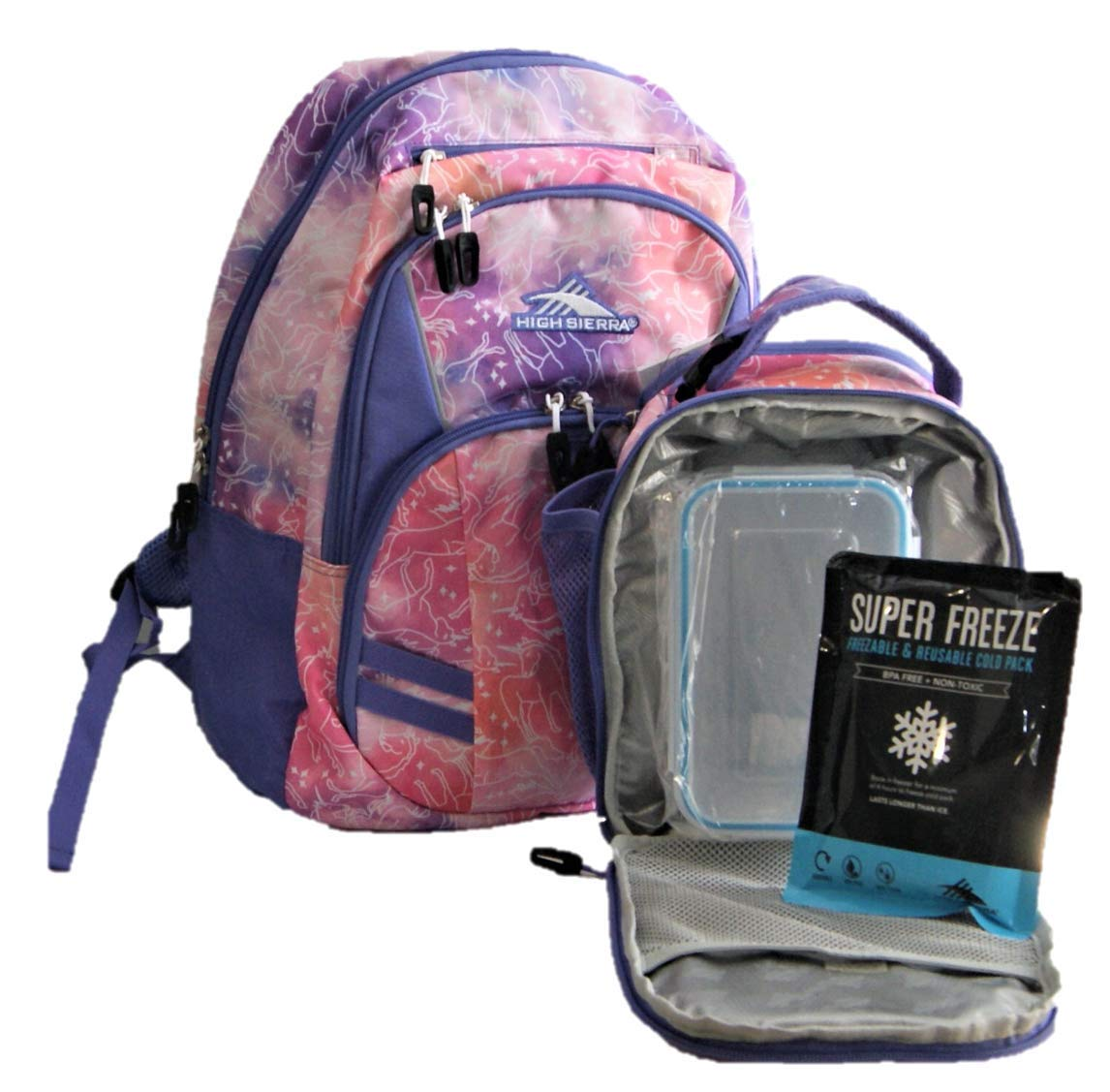 High Sierra Backpack with lunch Kit Set Unicorn Pink Purple