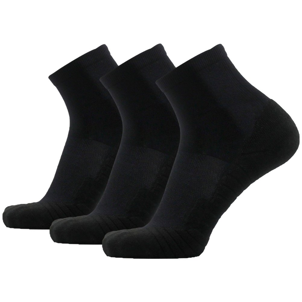 Running Socks for Men Black HUSO Stretchy Plantar Fasciitis Arch Support Ankle Compression Socks 3 Pairs, One Size