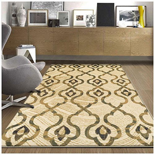 Superior Brighton Collection Area Rug, Chic Geometric Lattice Pattern, 10mm Pile with Jute Backing, Affordable Contemporary Rugs - Cream, 2' x 3' (Green Ivory Rug)