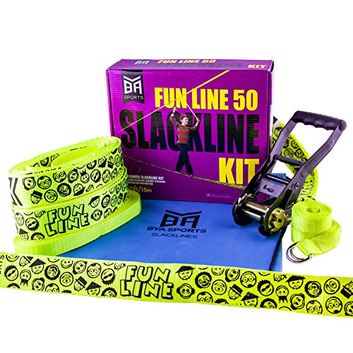 Bring Your Adventure Sports BYA Funline Slackline - 50ft Beginner Kit with Overhead Helpline and Carry Bag by Bring Your Adventure Sports