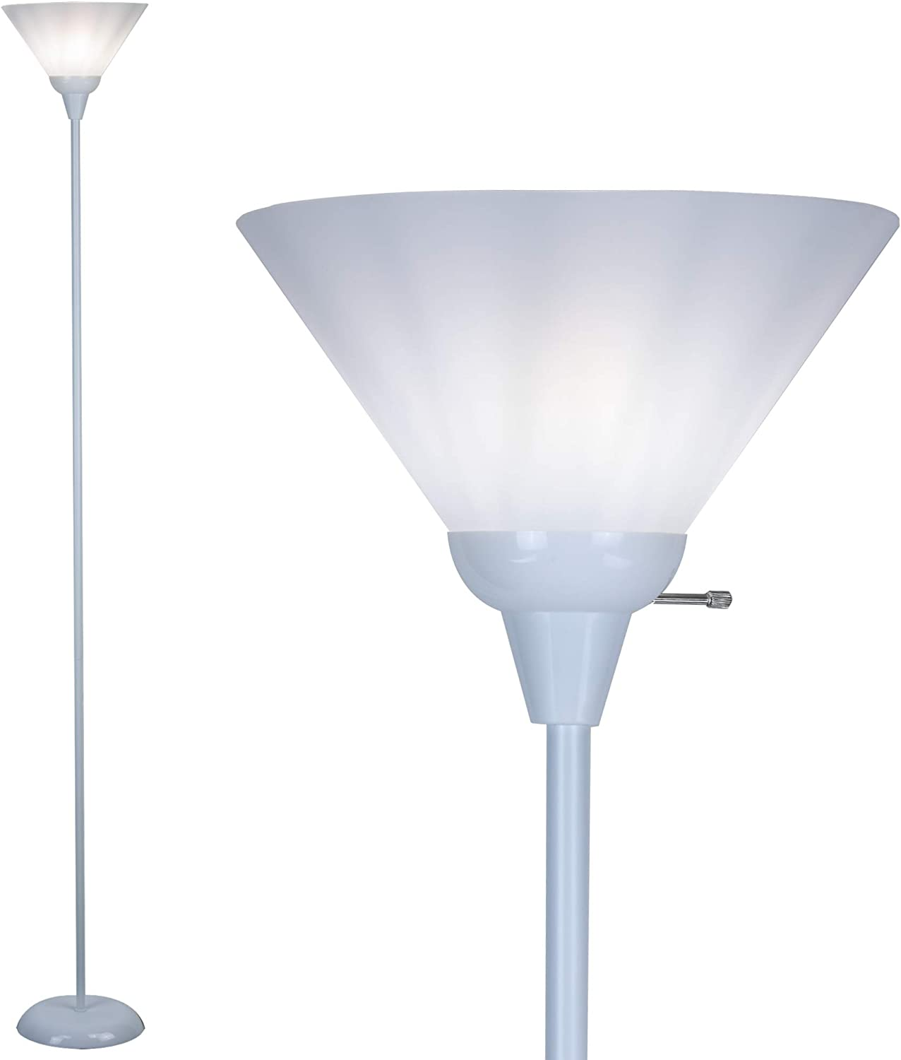 Floor Lamp by Light Accents - Mary Floor Lamp for Living Rooms - Standing lamp - Pole Light - Torchiere Floor Lamp - Bedroom Floor Lamp - Torch Lamps Bright Reading Light with White Shade (White)
