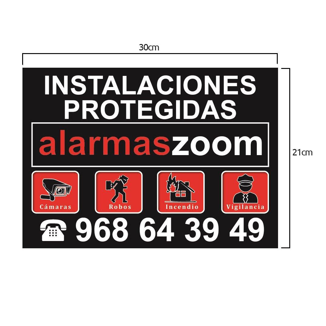 ★★Cartel rígido instalaciones protegidas alarmaszoom color negro★ Cartel alarma★Formato A4
