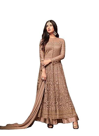 e10c0c2547 London sonal Chauhan Green Embroidered Abaya Style Anarkali Suit AD:  Amazon.co.uk: Clothing