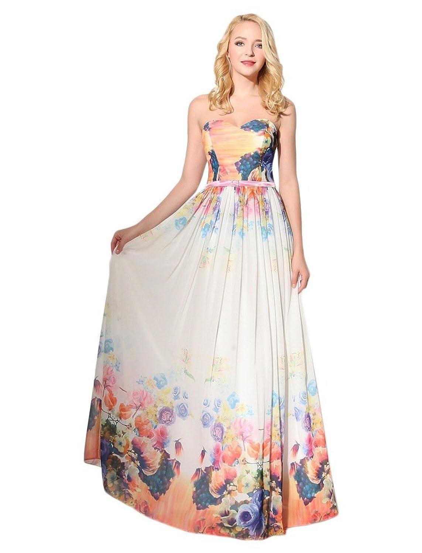 Ikerenwedding Women's Sweetheart Printing Maxi Sheath Chiffon Party Dress
