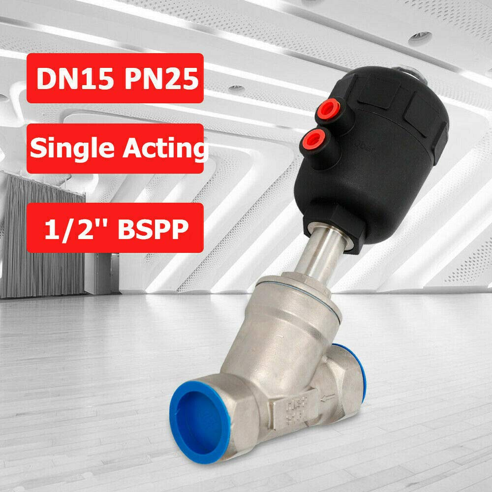 """DN15 1//2/"""" Stainless Steel BSP Single Acting Air Actuated Angle Seat Valve NC"""