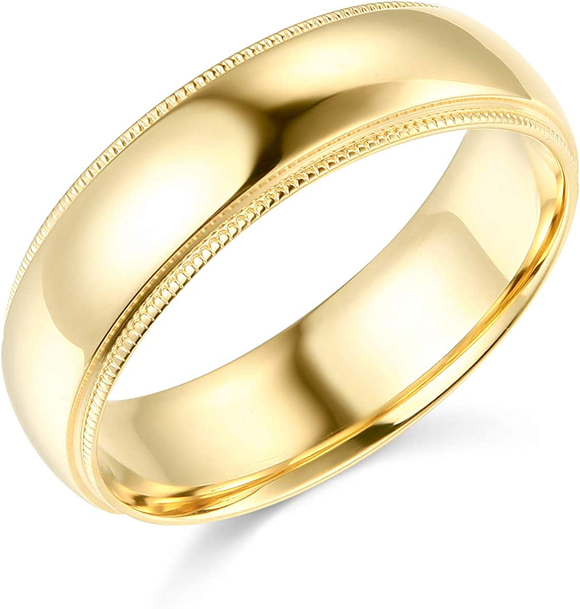 White Gold Heavy 6mm COMFORT FIT Milgrain Traditional Wedding Band Ring OR Wellingsale 14k Yellow