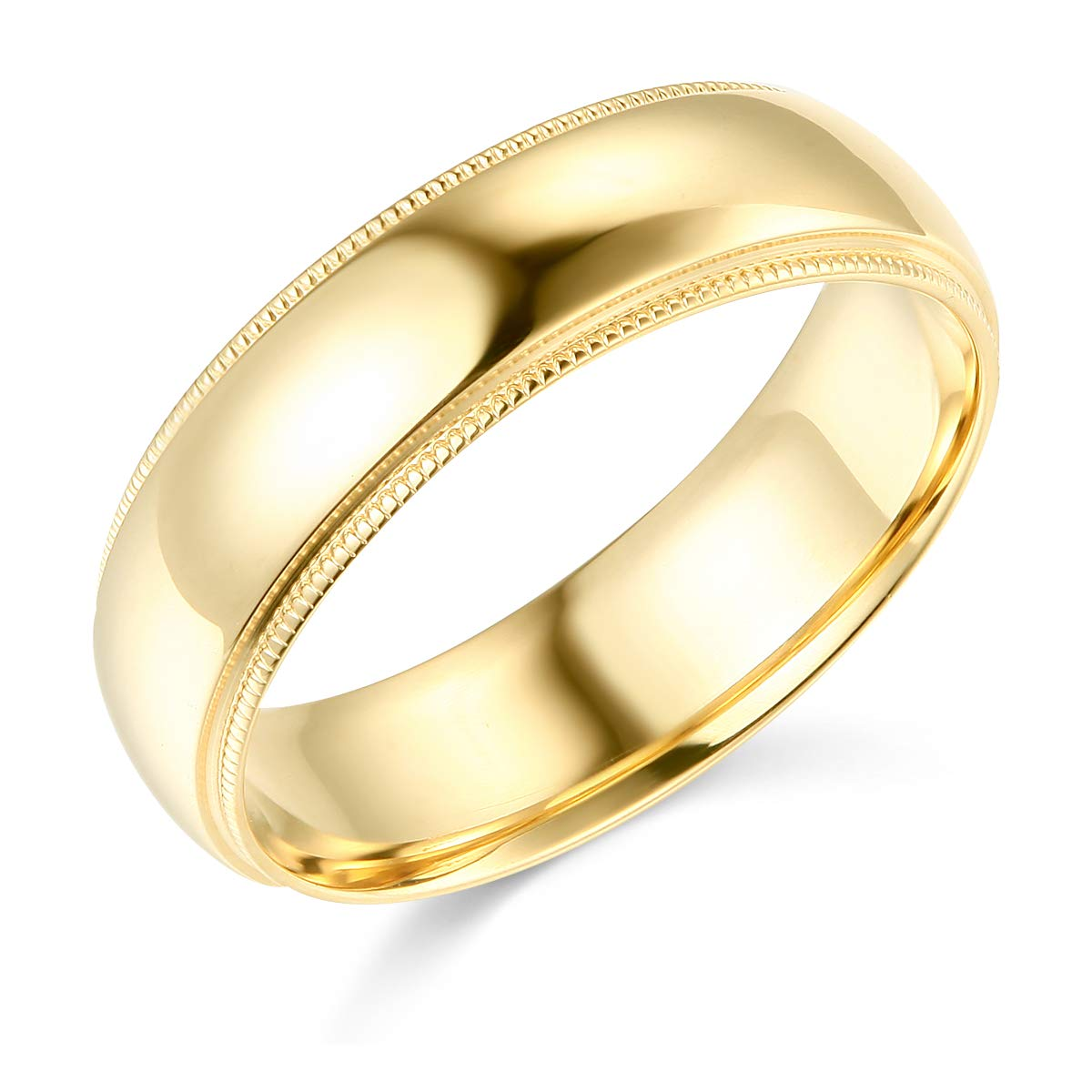 Wellingsale 14k Yellow Gold Solid 6mm HEAVY COMFORT FIT Milgrain Traditional Wedding Band Ring - Size 11