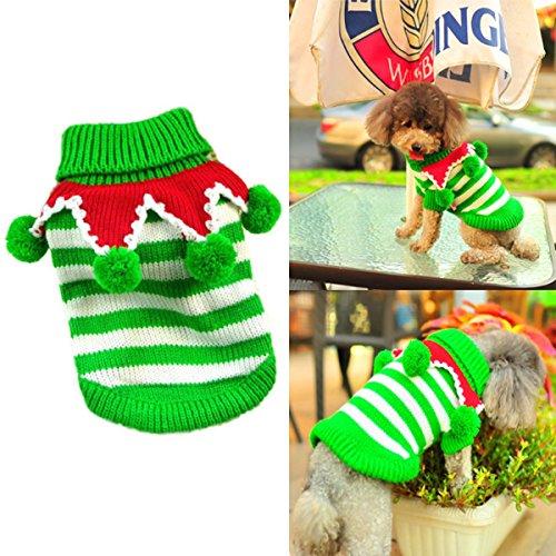 012 Yarn - Joyingtwo Pet Dog Cat Costume Christmas Cute Knitwear Outerwear with Collar and Balls Pet Costume Sweaters, White & Green XXS