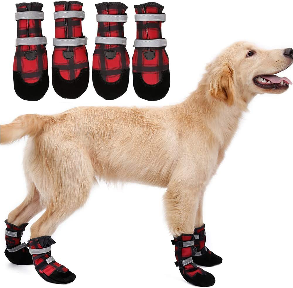 Yisily 2 Pair Dog Snow Boots Dog Protective Boot Dog Shoes Dog Boots for Injured Paws Waterproof