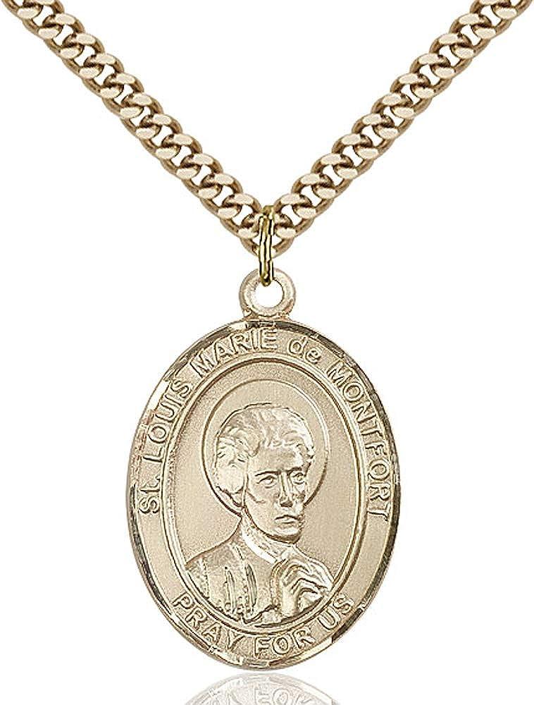 Gold Plate Heavy Curb Chain Patron Saint 1 x 3//4 Louis Marie de Montfort Pendant 14kt Gold Filled St