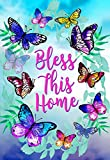 Morigins Bless This Home Decorative Spring Butterfly Double Sided House Flag 28''x40''