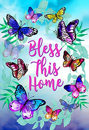 "Morigins Bless This Home Decorative Spring Butterfly Double Sided House Flag 28""x40"""