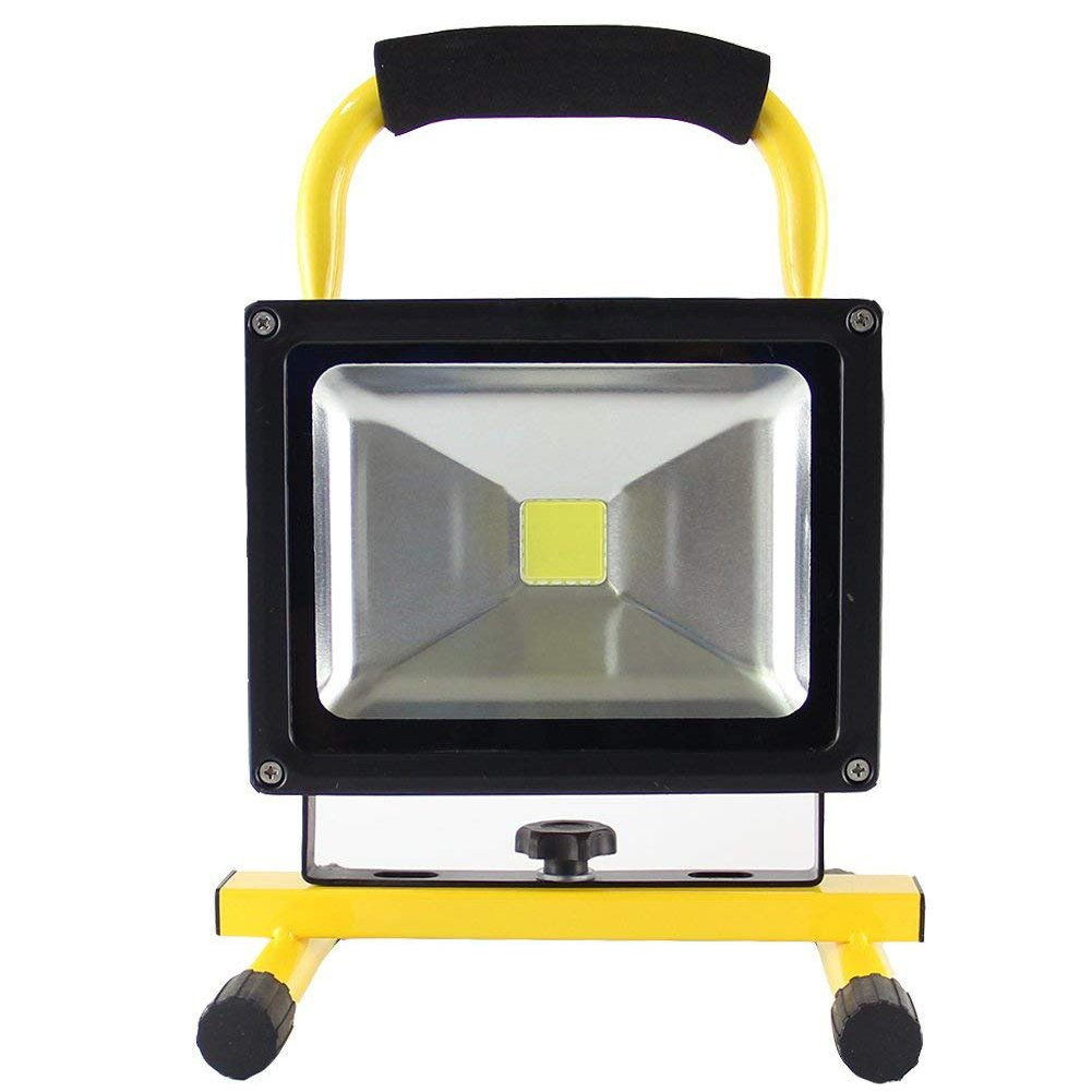 LED Flood Light, Motent 30W Super Bright LED Lighting IP65 Rechargeable Security Work Light, 360° Adjustable Portable Spotlight with Foldable Stand for Camping Workshop Factory - with Cigar Lighter