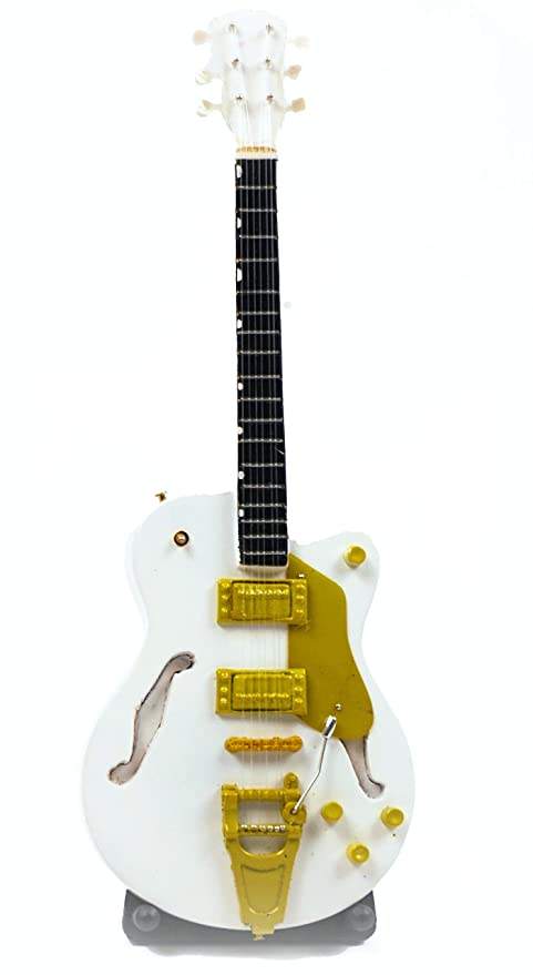 Guitarra en miniatura decorativa (24 cm), color blanco: Amazon.es ...