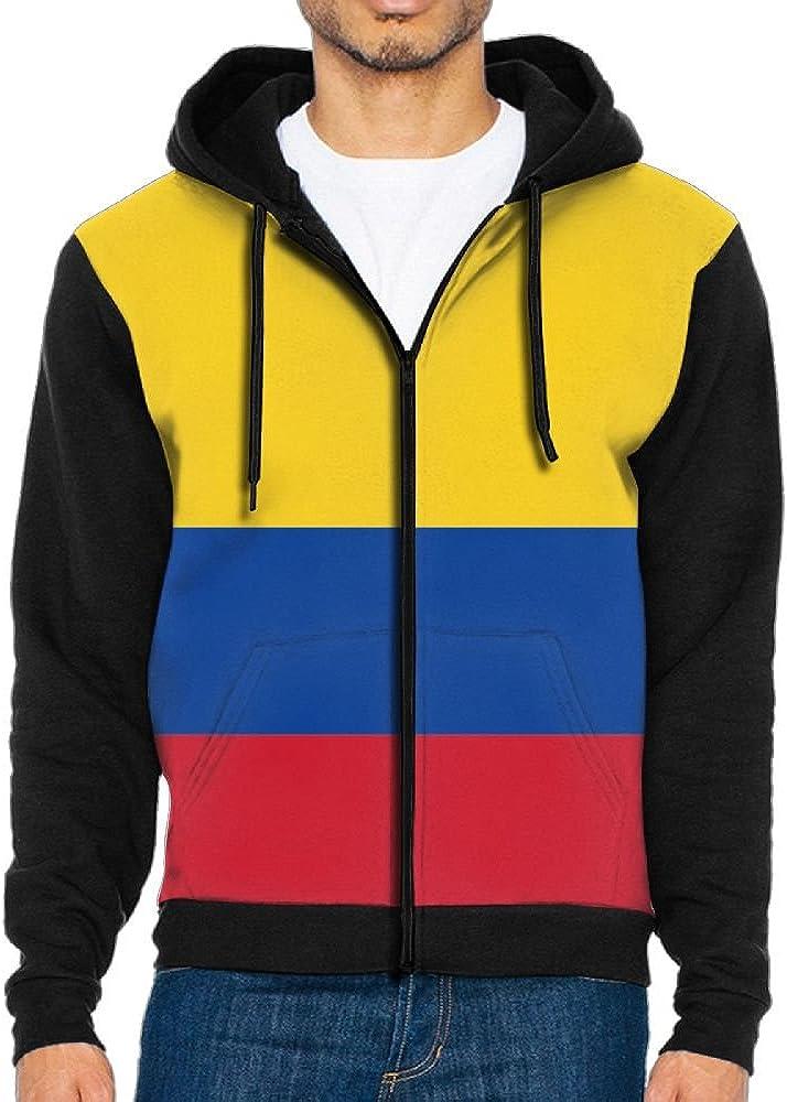 LOPH-DZ Mens Full-Zip Hooded Colombian Flag Fleece Sweatshirt
