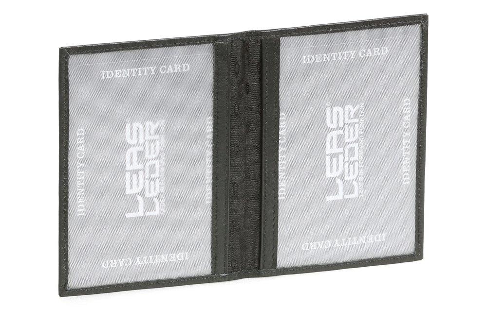 LEAS Ausweismappe- & -hü lle mit 2 Sichtfenstern Echt-Leder, schwarz Card-Collection LE50010-01-01
