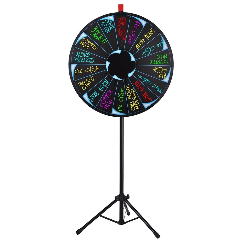 WinSpin 30'' Editable Prize Wheel of Fortune 18 Slot Floor Stand Tripod Spinning Game Tradeshow Carnival